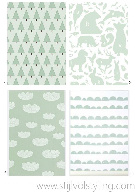 ... behang groen dennenboompjes 2. kek amsterdam behang groen/wit alfabet