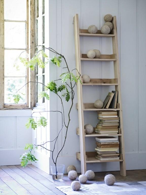 ladder voor badkamer: bamboe ladder badkamer. decoratieve ladder, Badkamer