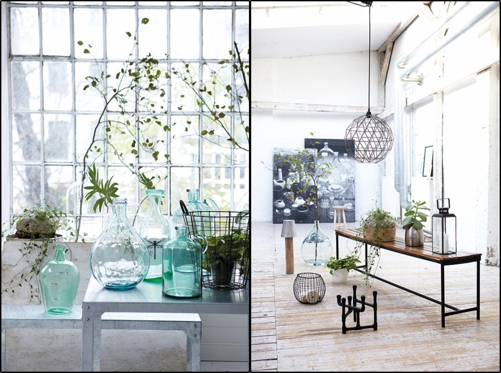 Interieurtrend vazen kruiken flessen van gekleurd glas stijlvol styling woonblog - Home decoratie interieur trap ...