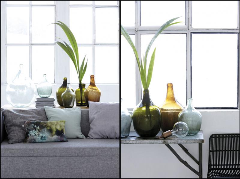 Interieurtrend vazen kruiken flessen van gekleurd glas stijlvol styling woonblog - Model van interieurdecoratie ...