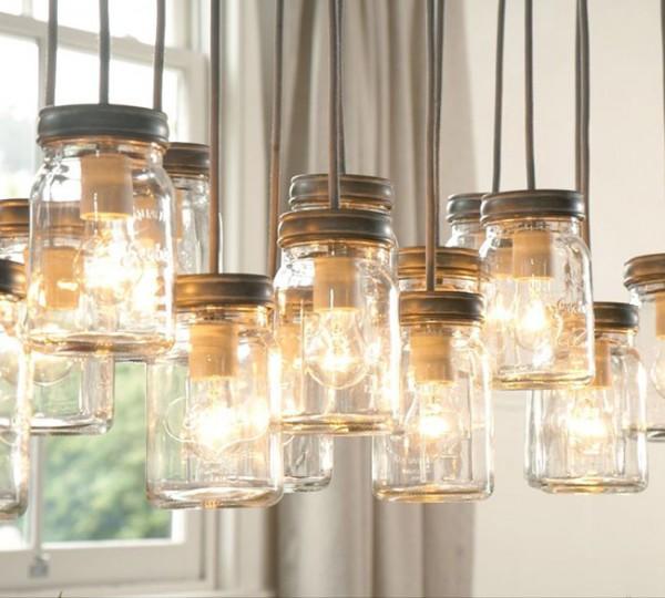 Rustic Industrial Lighting Chandelier Mason Jar Chandelier: Lamp Maken Van Een Glazen Pot • Stijlvol Styling
