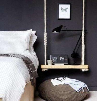 Interieur & DIY   Schommel als nachtkastje en hangende tafel