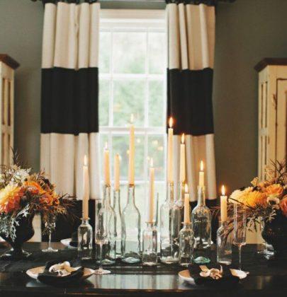 Feestdagen   Stijlvolle Halloween feest decoratie in zwart, wit en goud